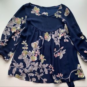 Anthropologie Floral Peasant Blouse